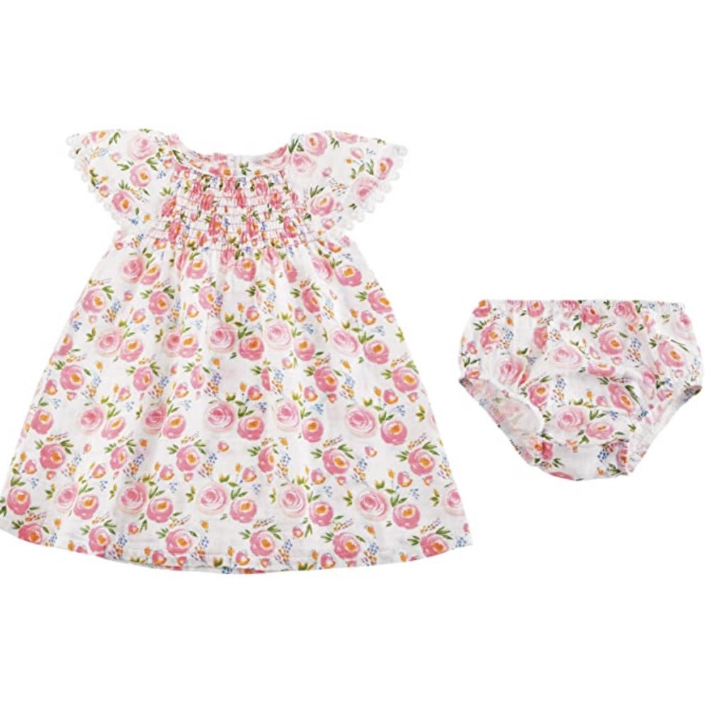 Mud Pie Pink Swirl Floral Smocked Dress | Le Petite Putti Canada