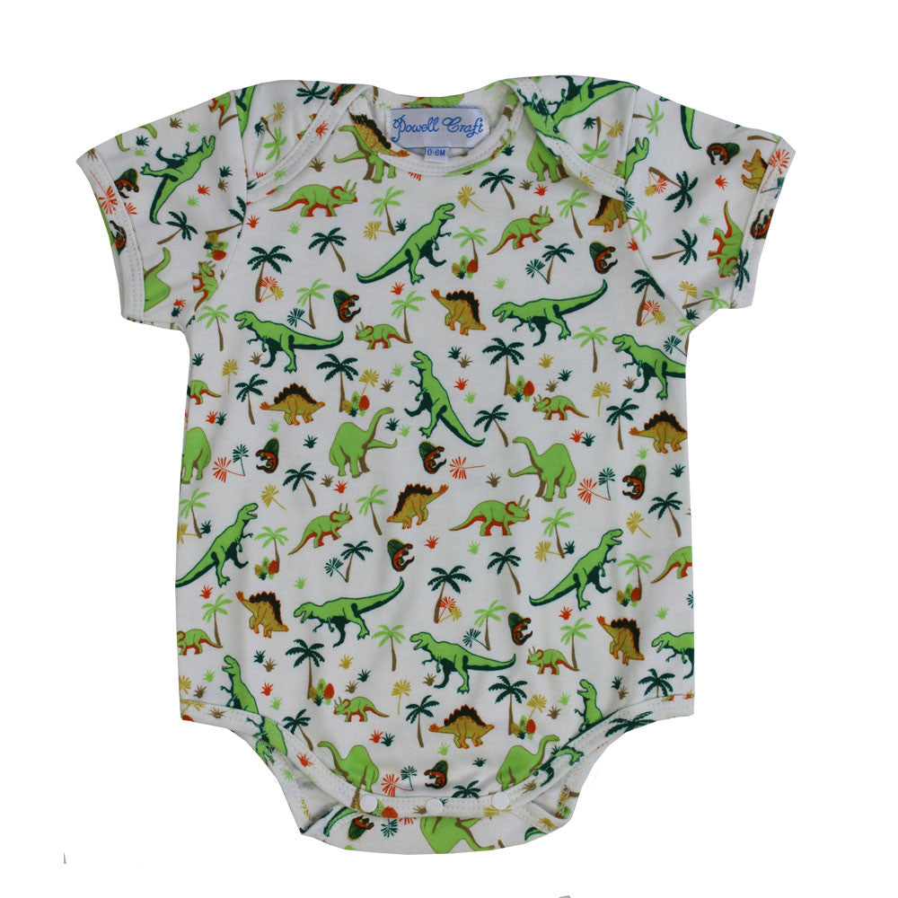 Dinosaur Print Baby Grow - 0 to 6 month (special order 2 weeks) Children's Clothing - Powell Craft Uk - Putti Fine Furnishings Toronto Canada