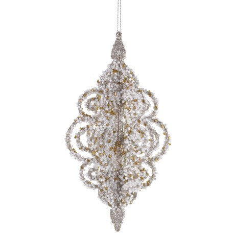 Pale Gold Glittered Ornate Filigree Ornament with Seed Pearls, CH-Coach House, Putti Fine Furnishings