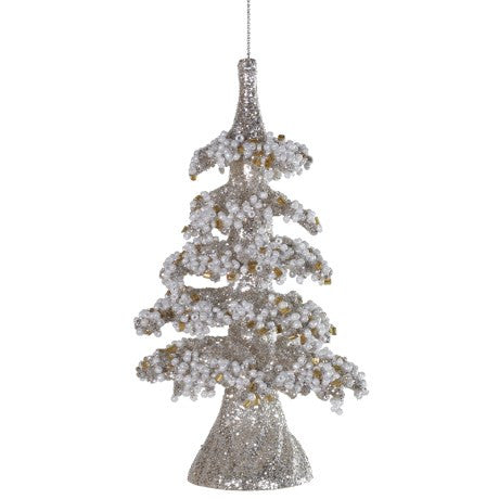 Pale Gold Hanging Tree Ornament with Seed Pearls