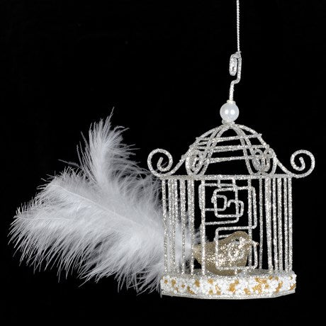 Gold Glitter Birdcage Ornament, CH-Coach House, Putti Fine Furnishings