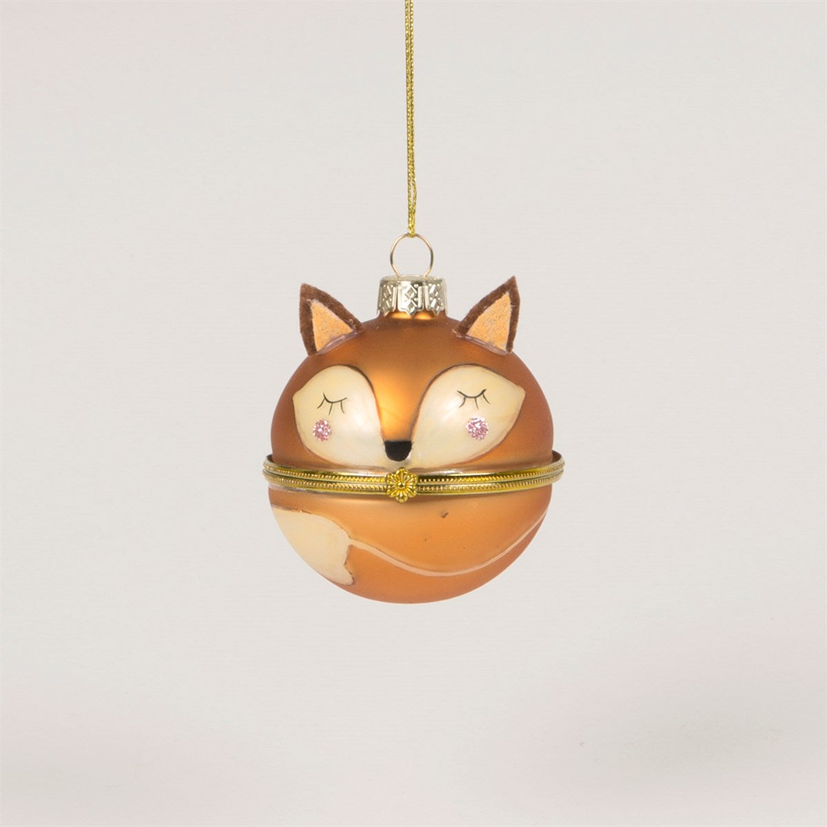 Fox Trinket Box Glass Ornament