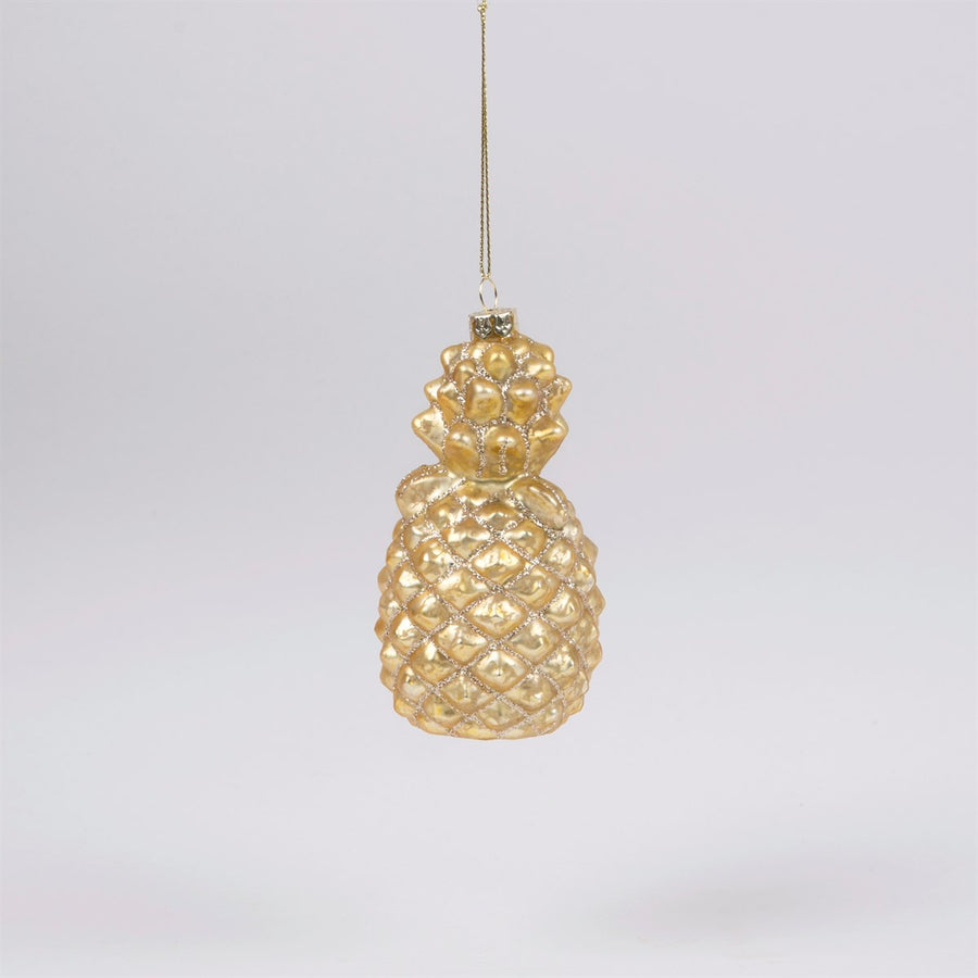 Gold Pineapple Glass Ornament