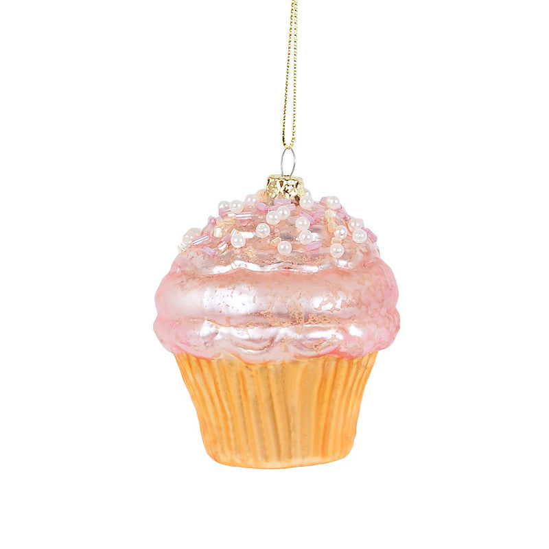 Pastel Pink Cupcake Glass Ornament