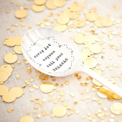 """Never let anyone dull your sparkle"" Vintage Dessert/Cereal Spoon, LDD-La De Da Living, Putti Fine Furnishings"