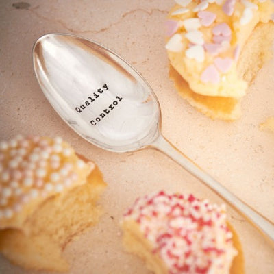 """Quality Control"" Vintage Desert/Cereal Spoon, LDD-La De Da Living, Putti Fine Furnishings"
