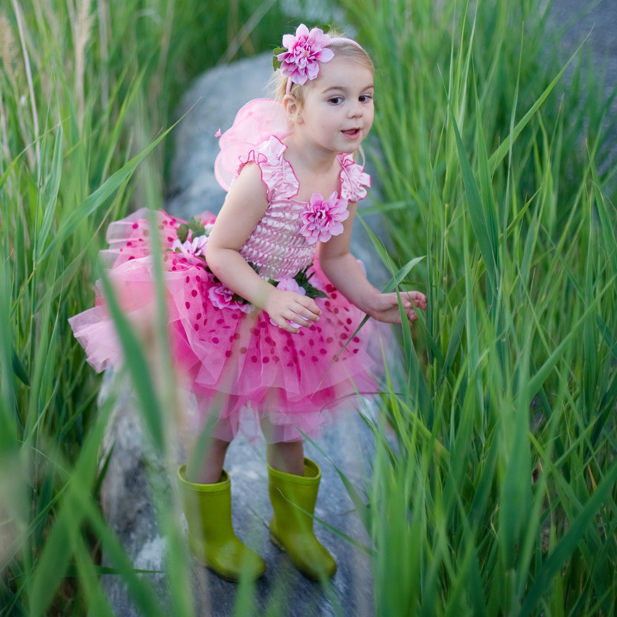 Fairy Blooms Dress Pink with Wings & Headband