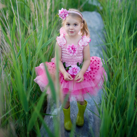 Fairy Blooms Dress Pink with Wings & Headband-Dress Up Costumes-Creative Education-Medium-Putti Fine Furnishings