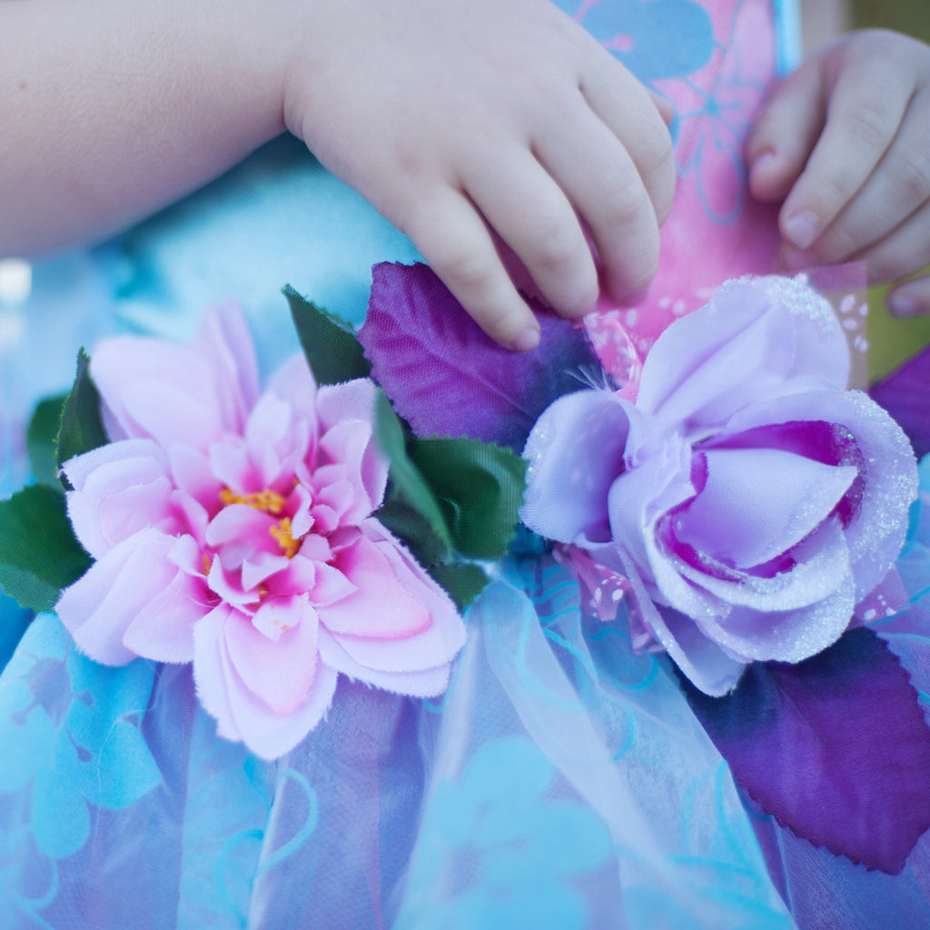 Fairy Blooms Dress Blue with Wings-Dress Up Costumes-Creative Education-Medium-Putti Fine Furnishings