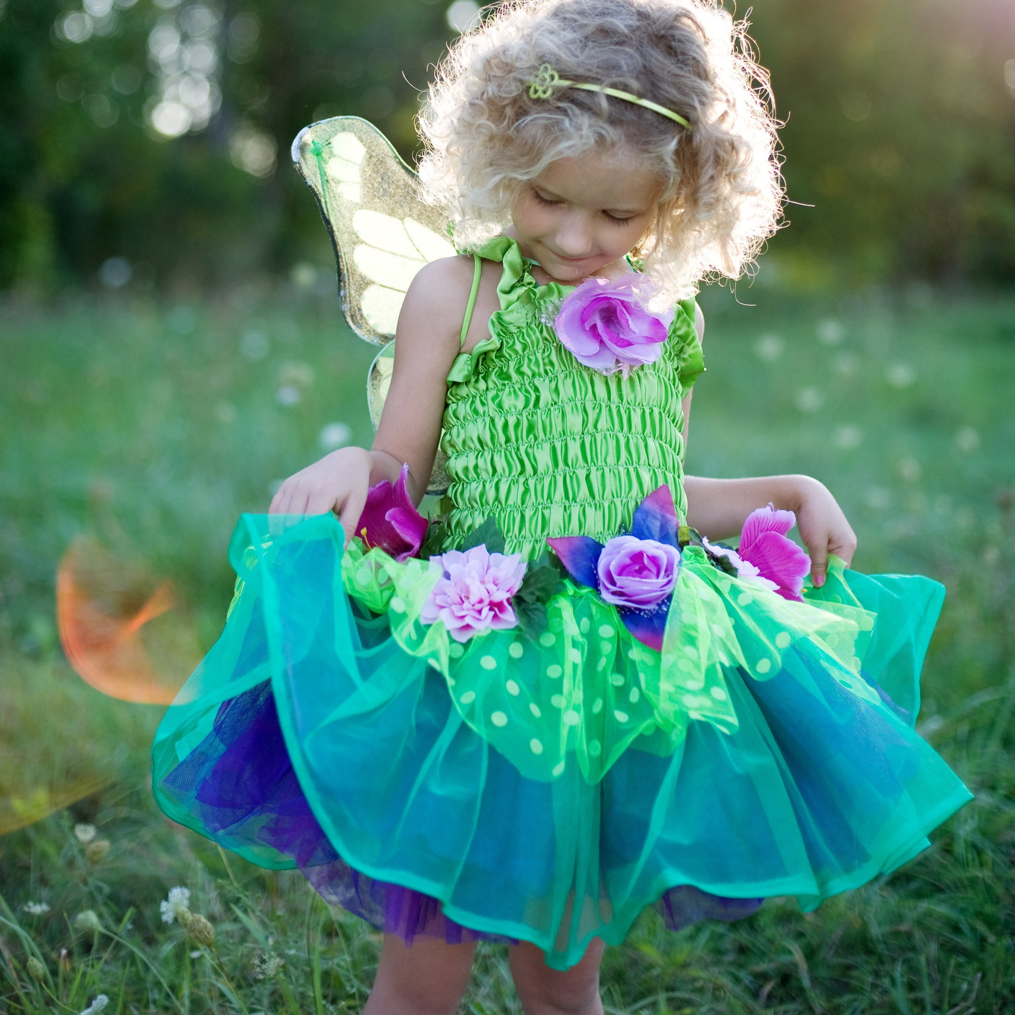 Fairy Blooms Dress Green with Wings