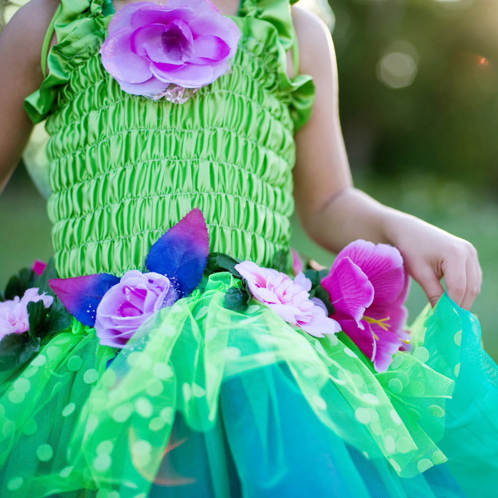 Fairy Blooms Dress Green with Wings-Dress Up Costumes-Creative Education-Medium-Putti Fine Furnishings