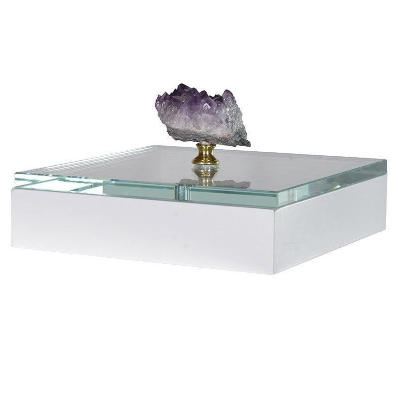Glass Lidded Low Box with Amethyst