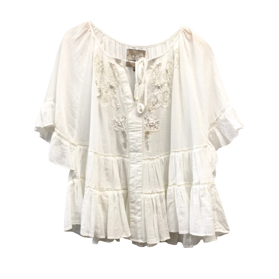 "Summer of Love ""Dee"" White Ruffle Top"