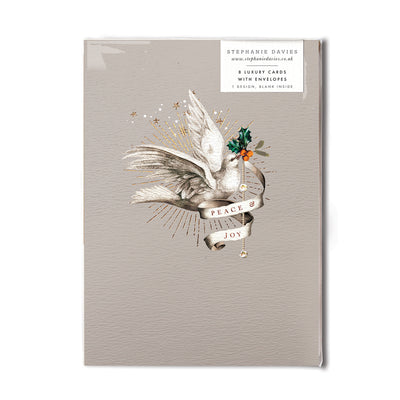 "Stephanie Davies ""Peace and Joy"" Dove Christmas Card  Pack 