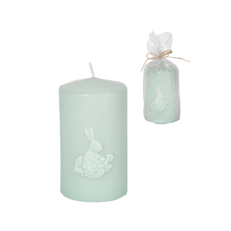 "Light Blue Green Pillar Candle with Rabbit-Easter-CF-Canfloyd-Small 2.5""dia x4.5""h-Putti Fine Furnishings"