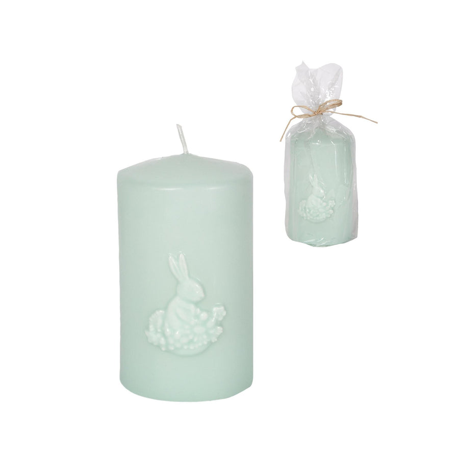 Light Blue Green Pillar Candle with Rabbit