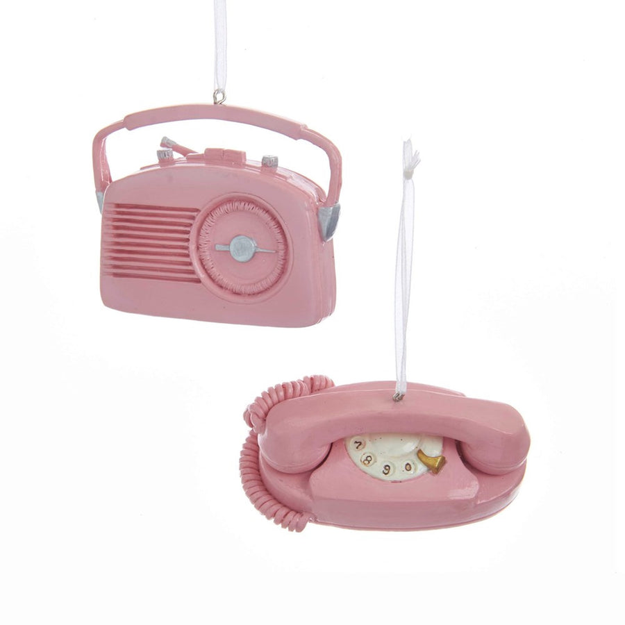 Kurt Adler Pink Retro Radio and Telephone Ornaments | Putti Christmas