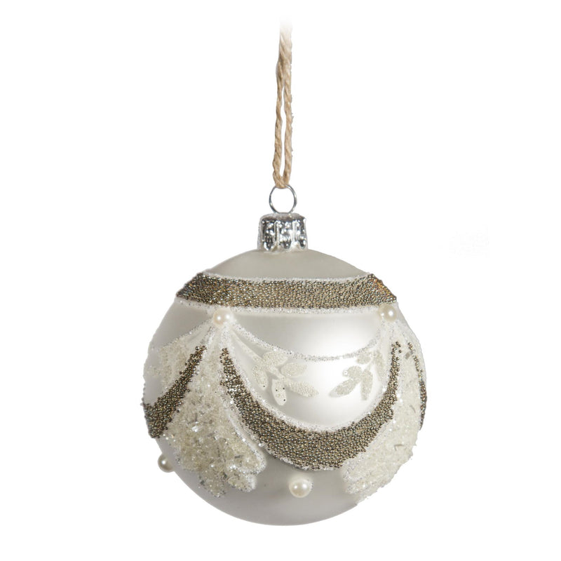 White Ornament with Gold Swag