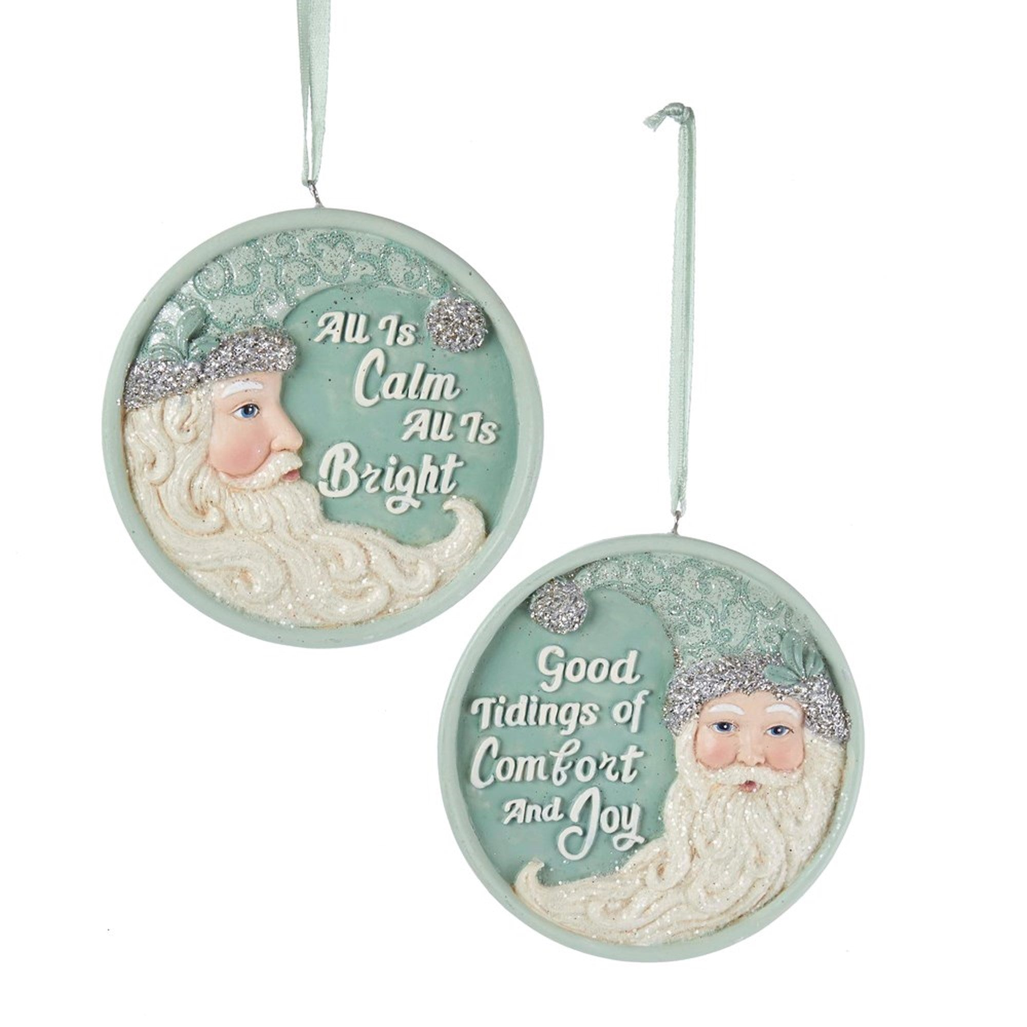 Kurt Adler Sage Green Crescent Santa with Sayings Ornaments | Putti