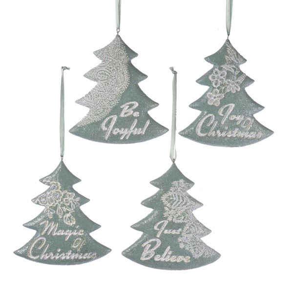 Kurt Adler Sage Green Christmas Tree with Sayings Ornament