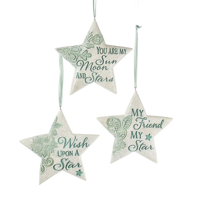 Kurt Adler Sage Green Stars with Sayings Ornament | Putti Christmas