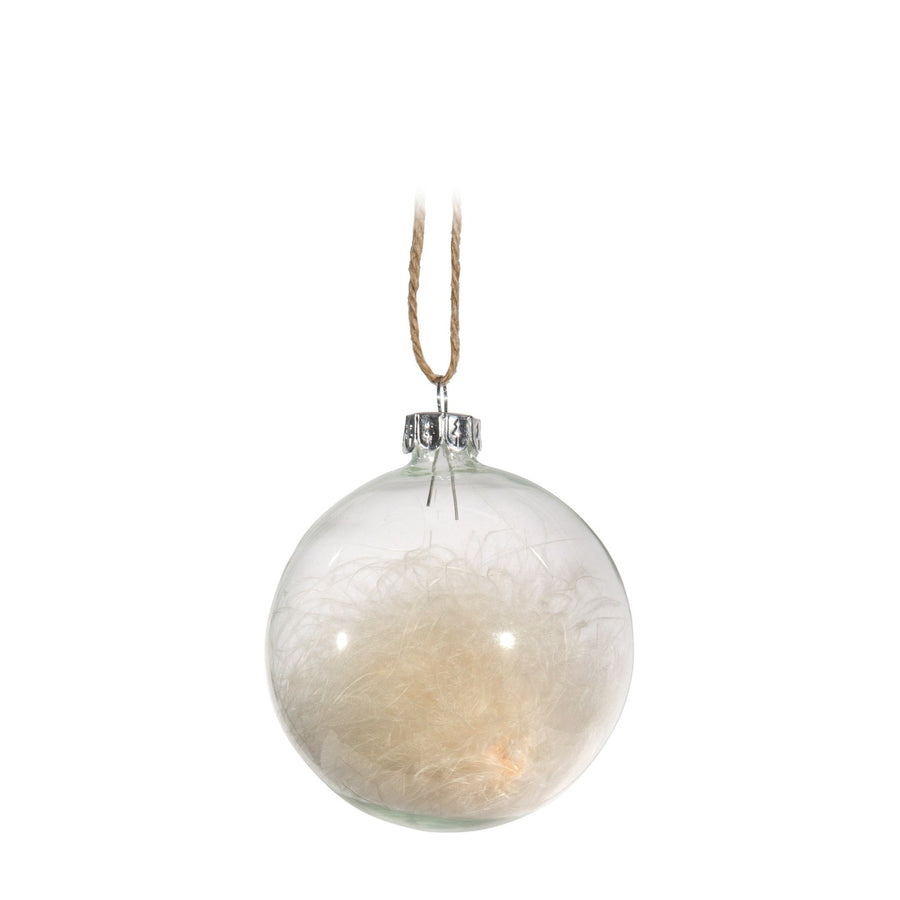 Clear Ball with Feathers Ornament