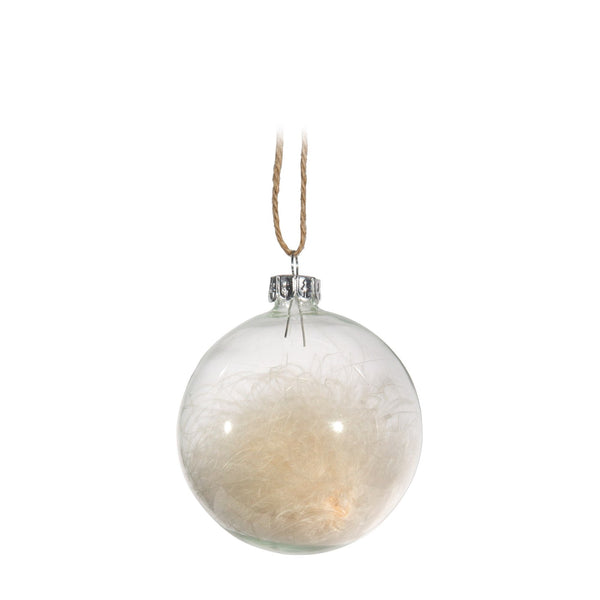 Clear Ball with Feathers Ornament -  Christmas - Canfloyd - Putti Fine Furnishings Toronto Canada