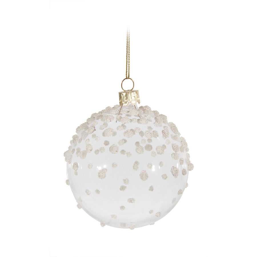 Clear White Beaded Ornament