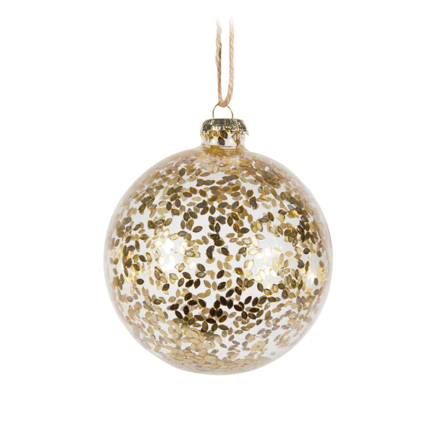 Clear Ball with Gold Specs Ornament
