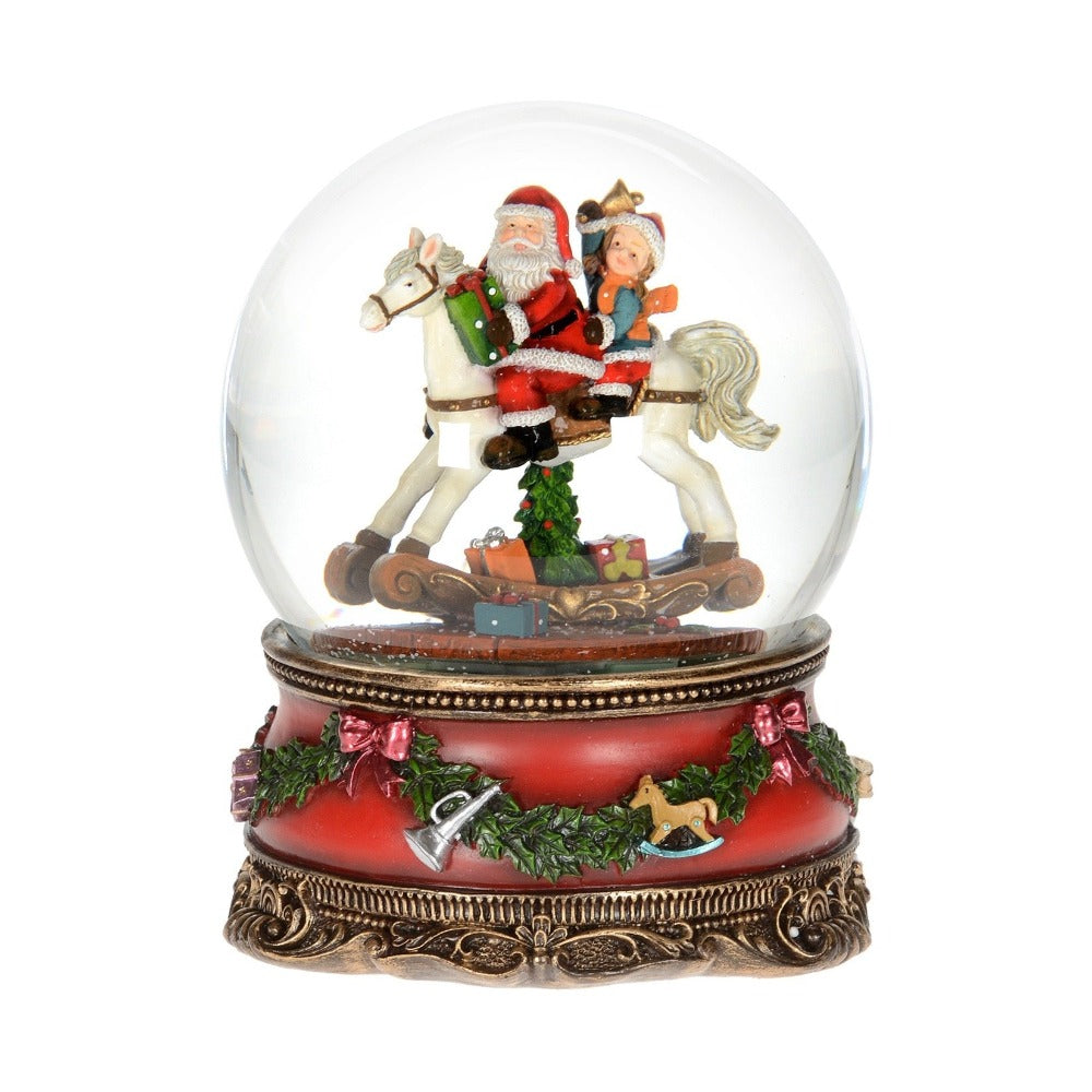 Santa on Rocking Horse Snow Globe  | Putti Christmas Shop | Canada