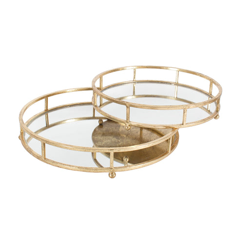"Round Gold Mirror Trays-Accessories-CF-Canfloyd-Small 3""h x 14""dia-Putti Fine Furnishings"