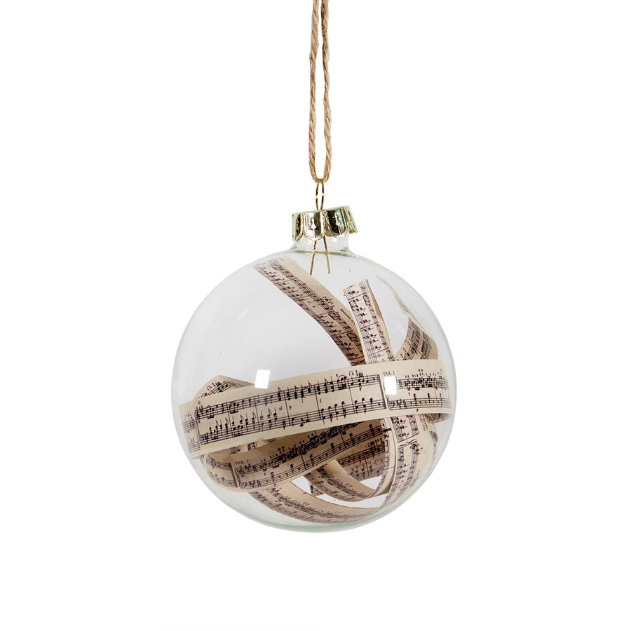 Glass Ball Ornament with Musical Score Script, CF-Canfloyd, Putti Fine Furnishings