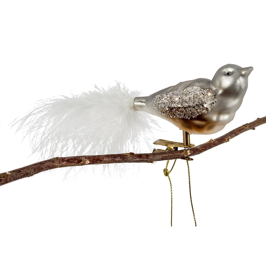 Grey Glass Bird with Clip