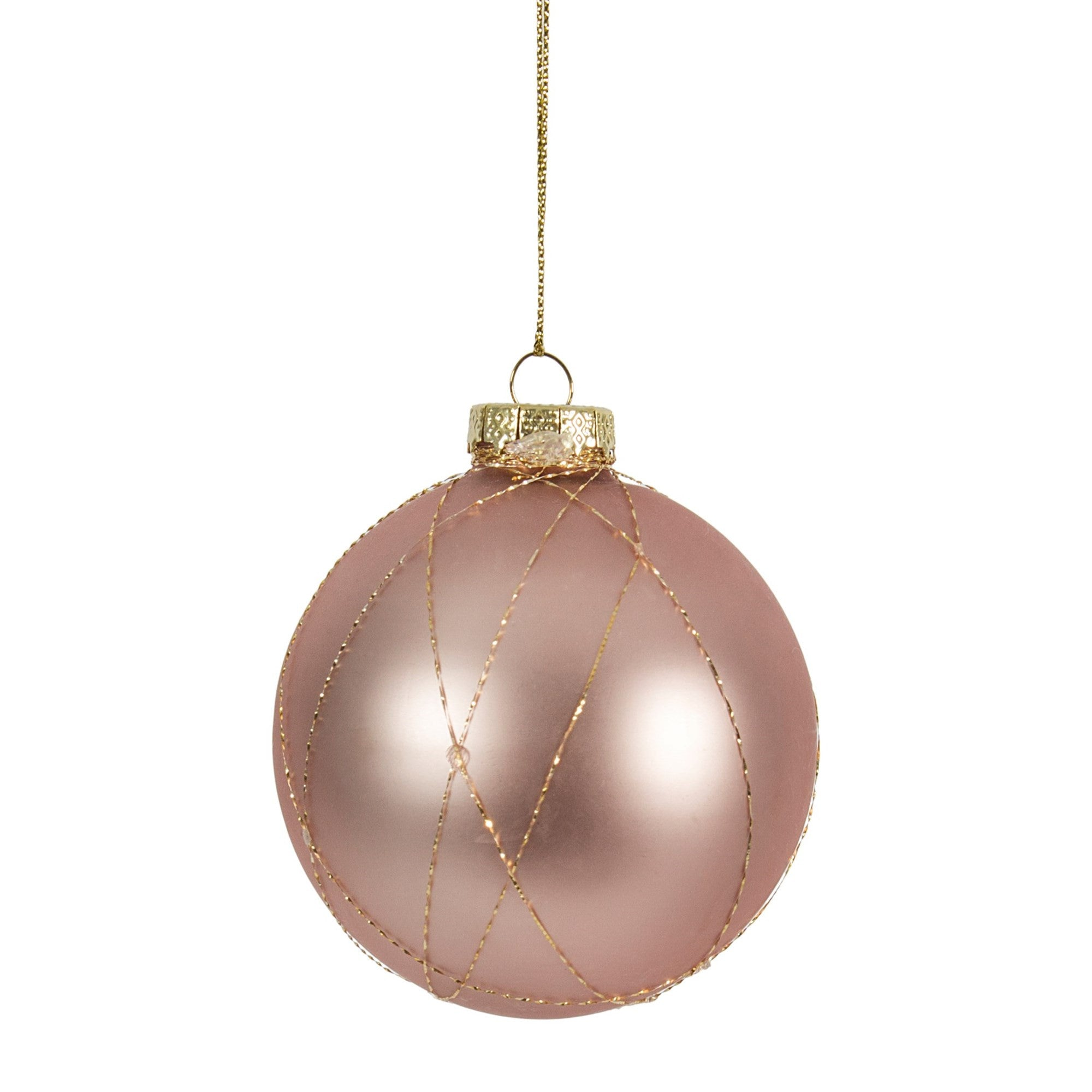 Blush Pink Glass Ornament with Gold Bouillon, CF-Canfloyd, Putti Fine Furnishings