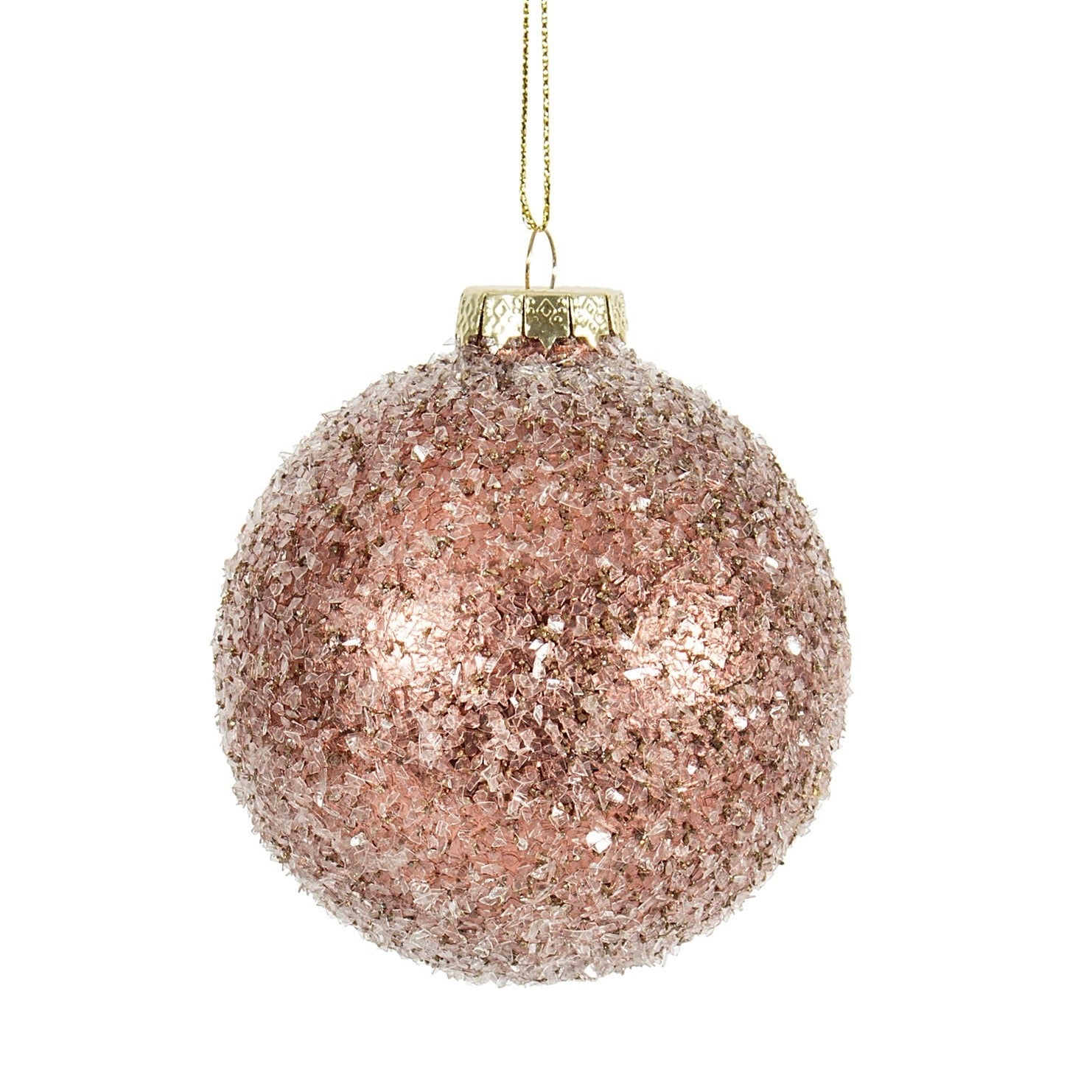 Glittered Blush Pink Ball Ornament | Putti Christmas Canada