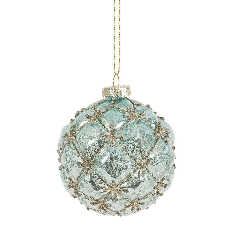 Pale Aqua Gold Beaded Glass Ball Ornament