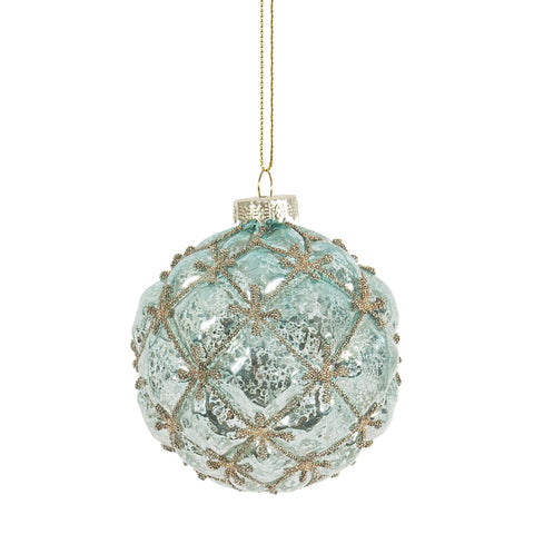 Pale Aqua Gold Beaded Glass Ball Ornament-Christmas-CF-Canfloyd-Putti Fine Furnishings