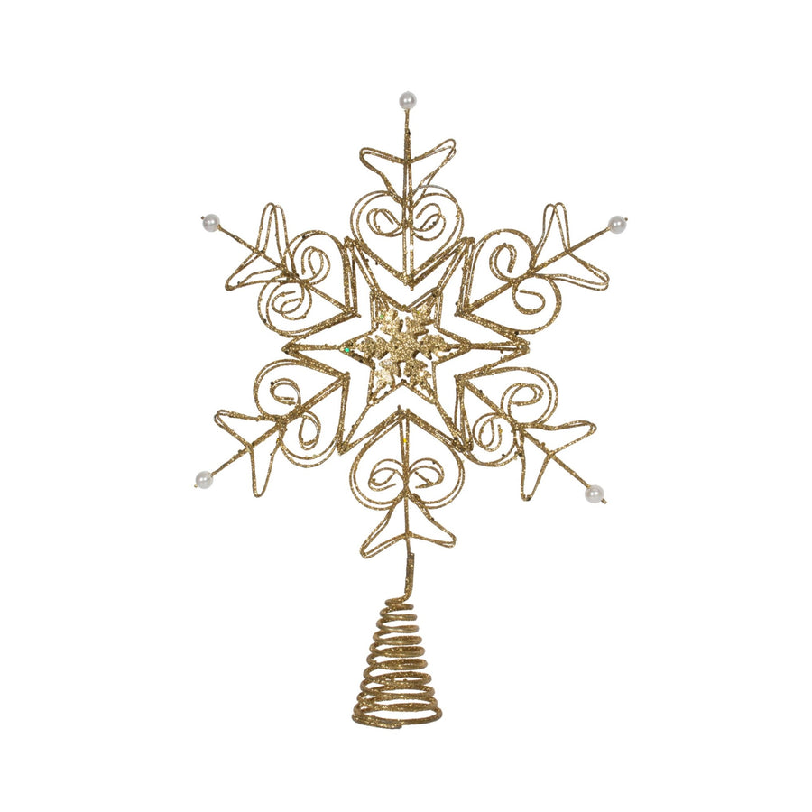 Gold Snowflake Tree Topper with White Beads
