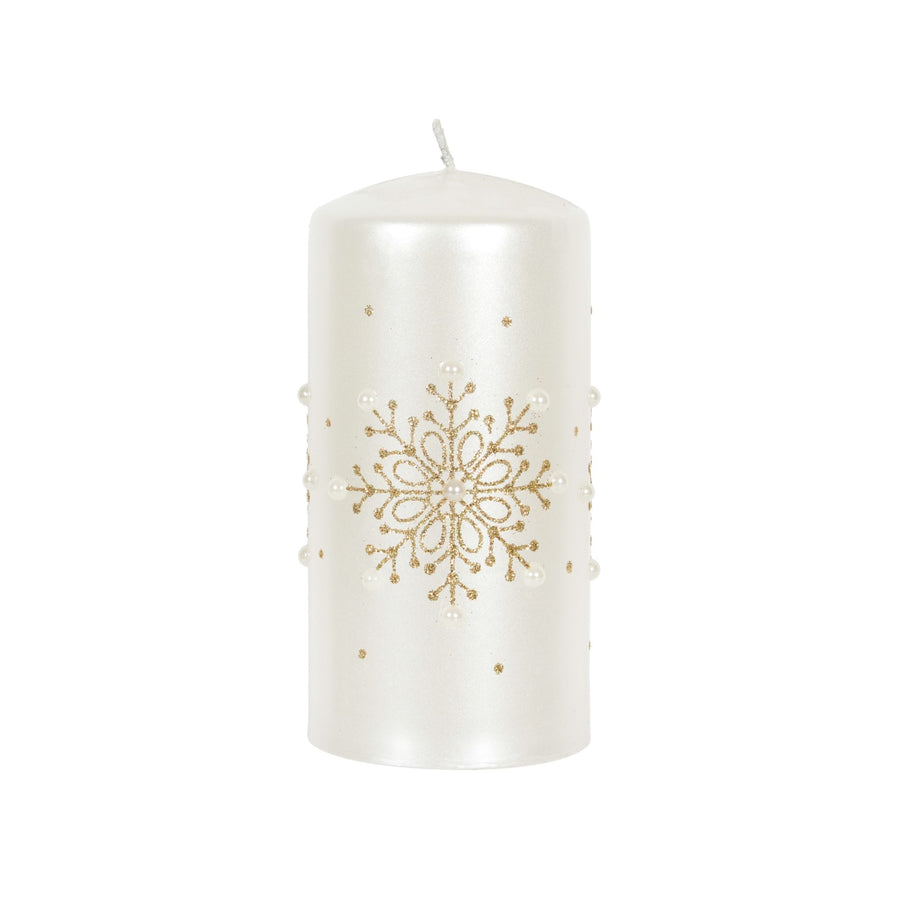 White with Gold Snowflakes Pillar Candle - Large