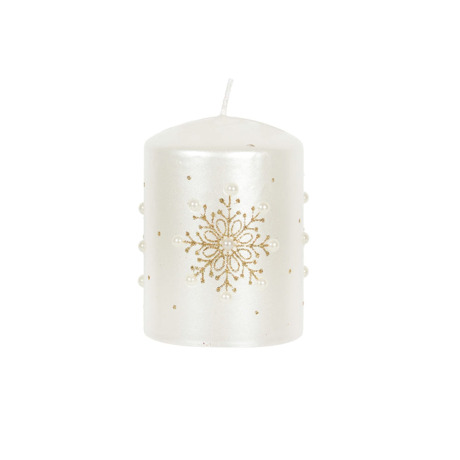 White with Gold Snowflakes Pillar Candle - Small