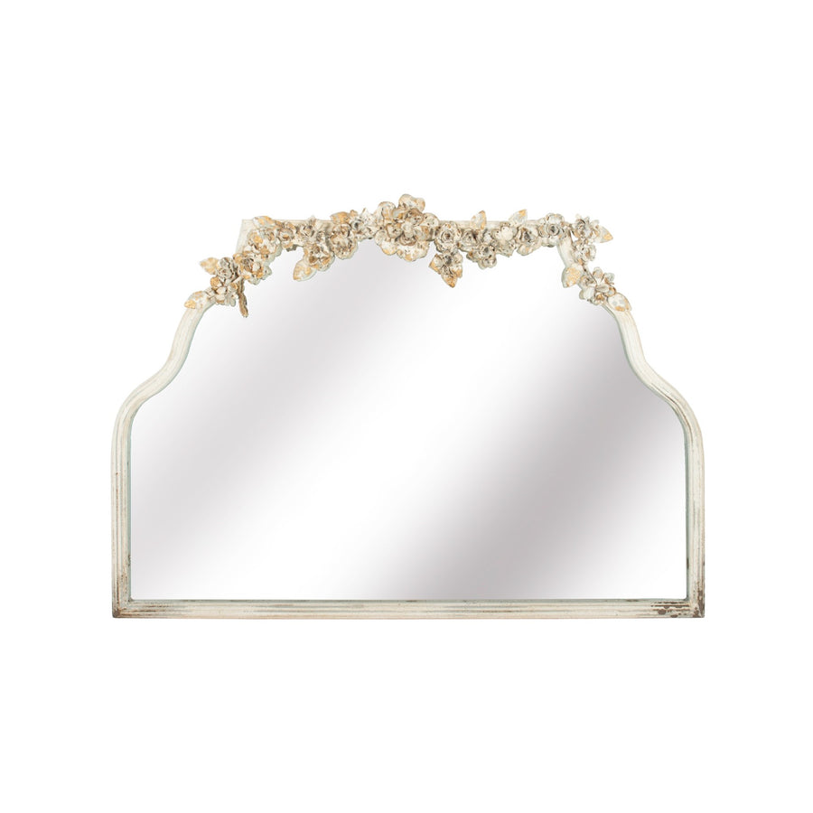 Floral Iron Mirror in Antique White  - Putti Fine Furnishings Canada