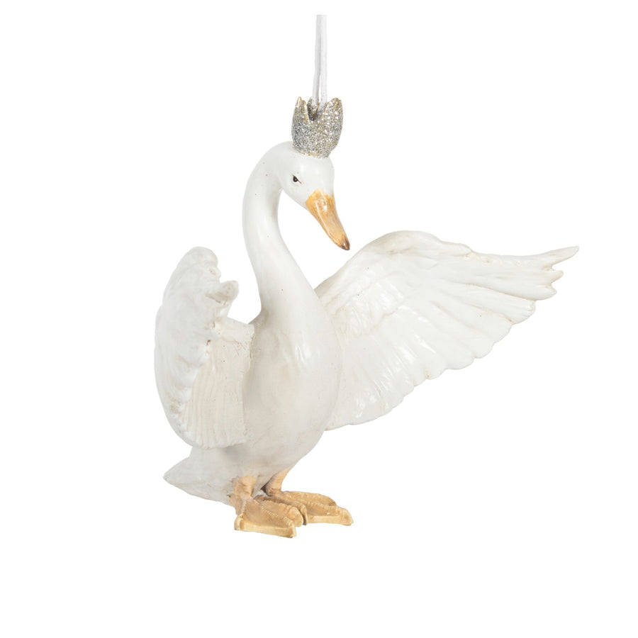 Swan with Crown Ornament - Putti Celebrations Canada