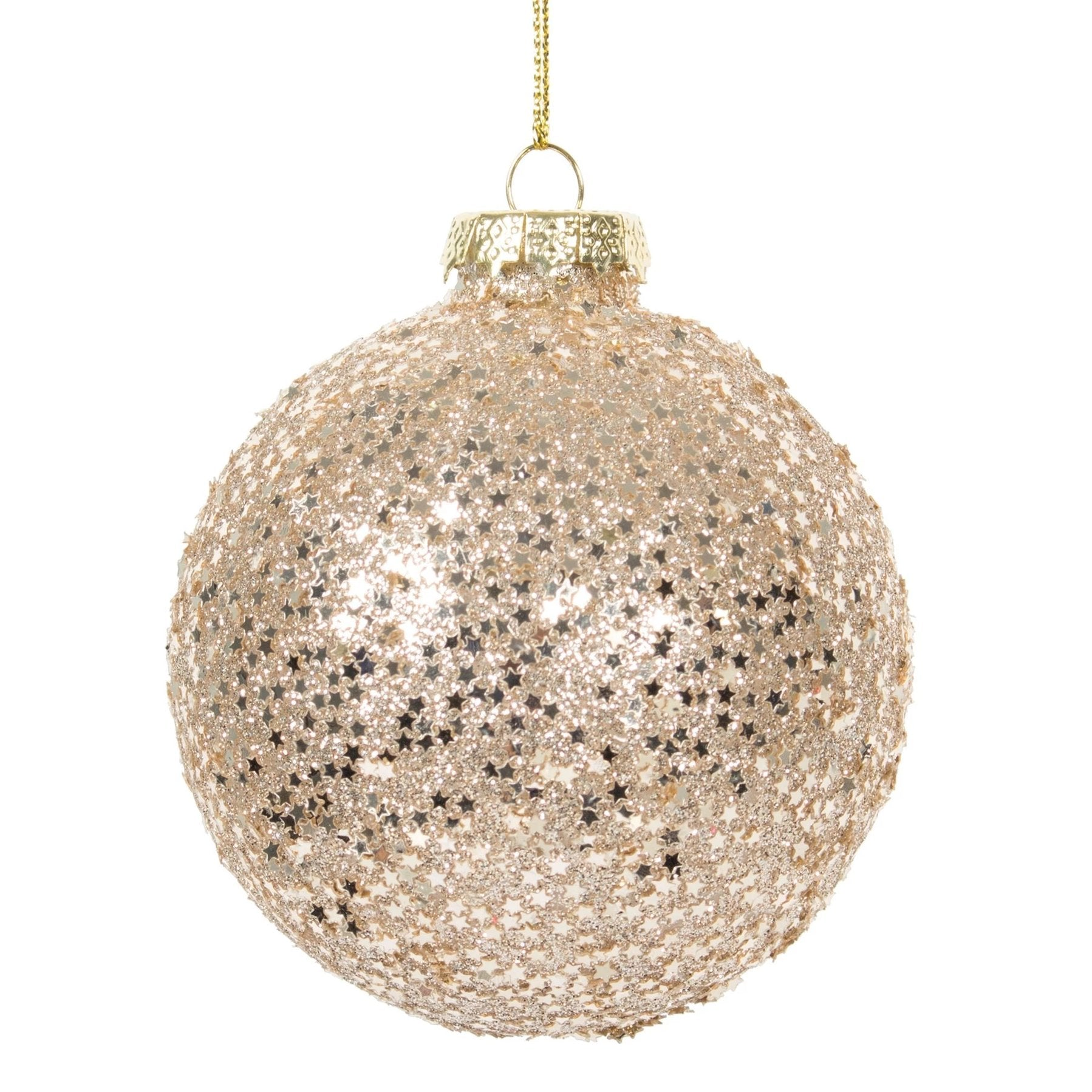 Champagne Pink Star Glitter Glass Ball Ornament |  Putti Christmas Canada