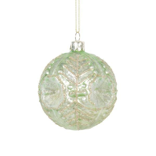 Sage Green Embossed Glass Ball Christmas Ornament