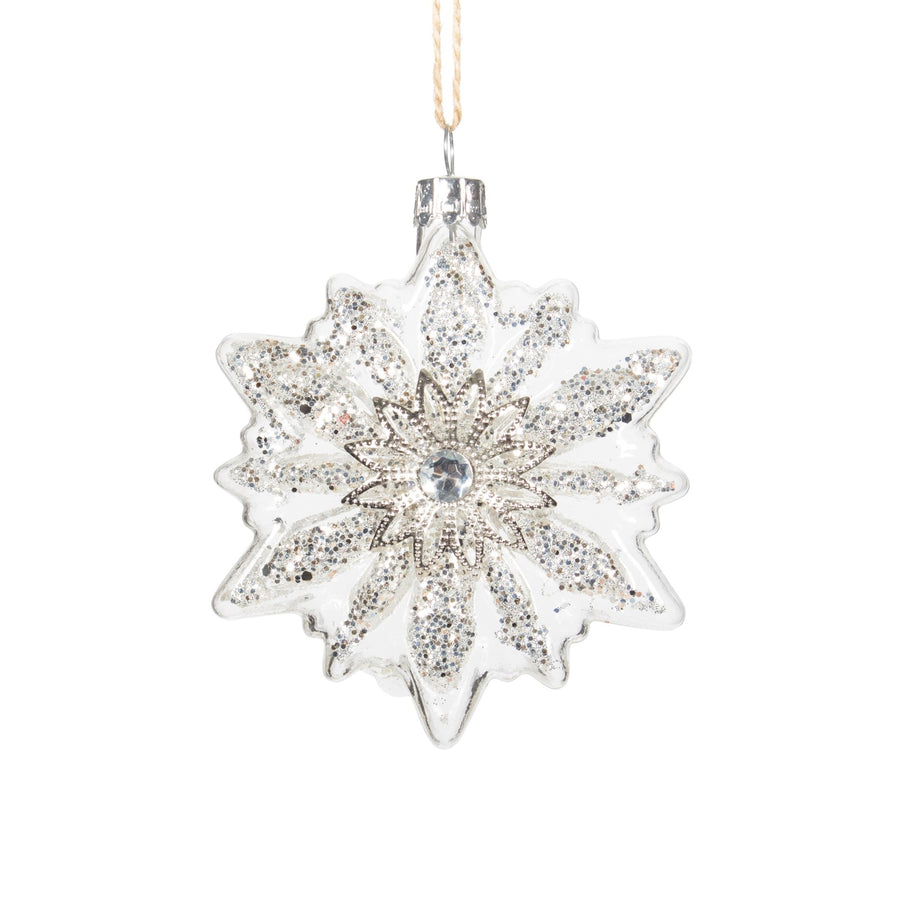 Clear Glass Snowflake with Silver Glitter Ornament