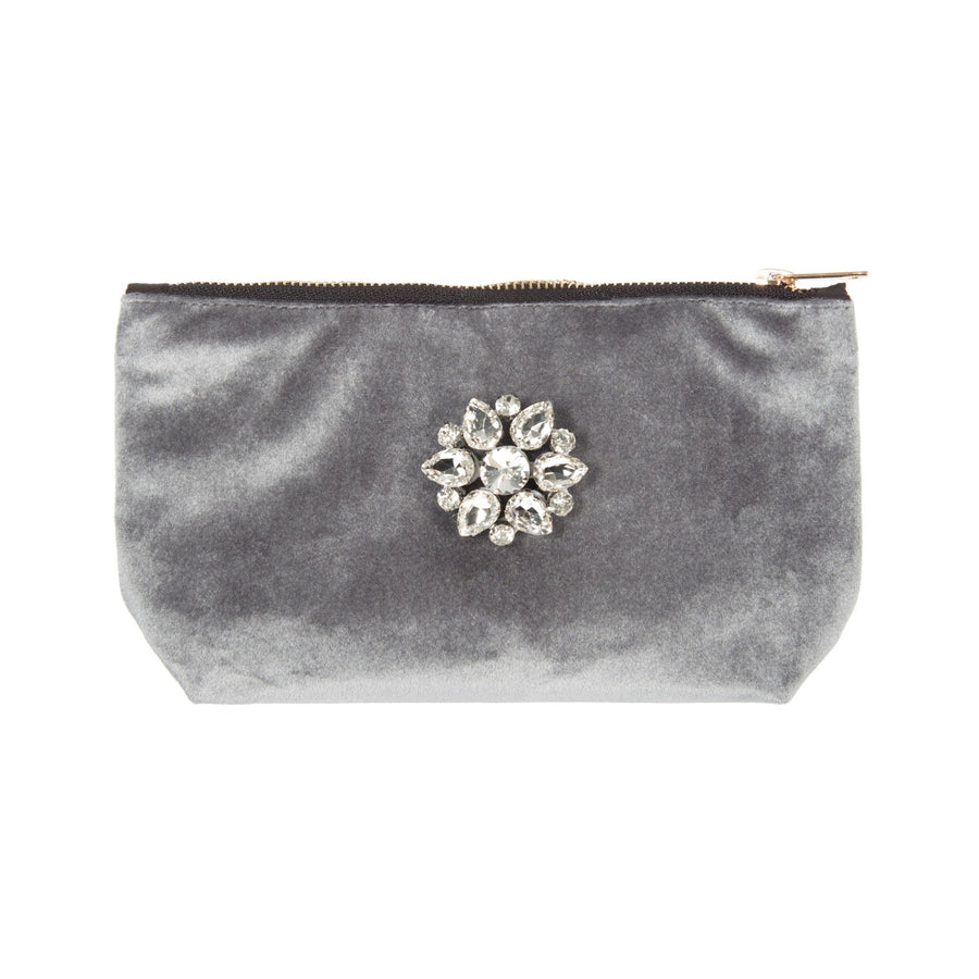 Grey Velvet Bag with Crystal Brooch - Putti Fine Fashions