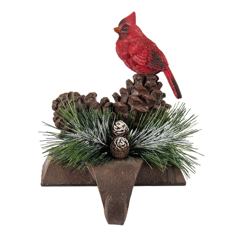 Red Cardinal with Pinecones Stocking Holder | Putti Christmas Celebrations