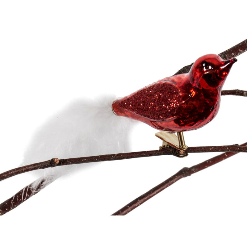 Red with White Feather Tail Glass Bird Ornament | Putti Christmas Decorations