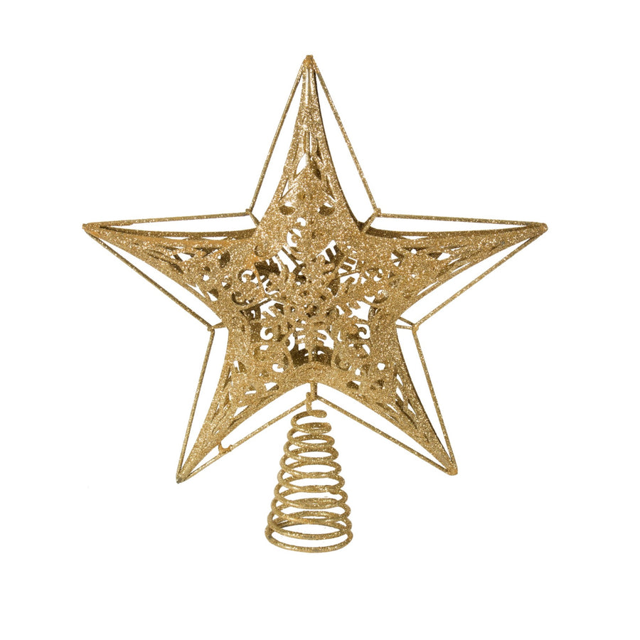 Gold Star with Snowflake Tree Topper