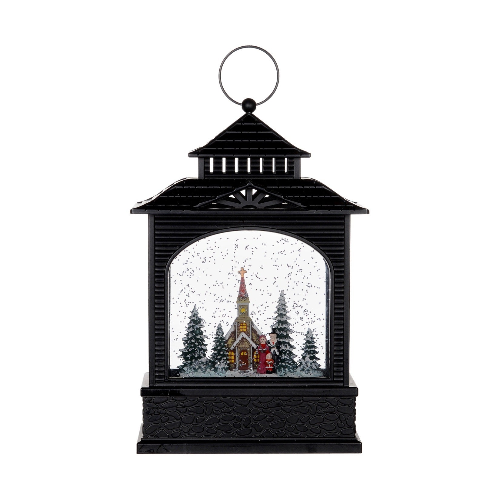 Village Scene Perpetual Swirling Snow Lantern with Light | Putti